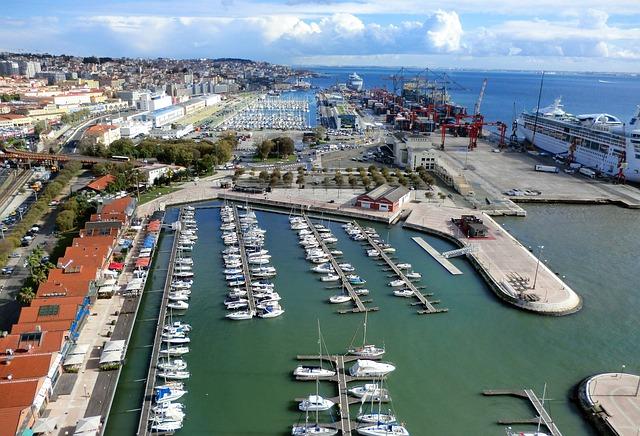 Port de Lisbonne en vue aérienne