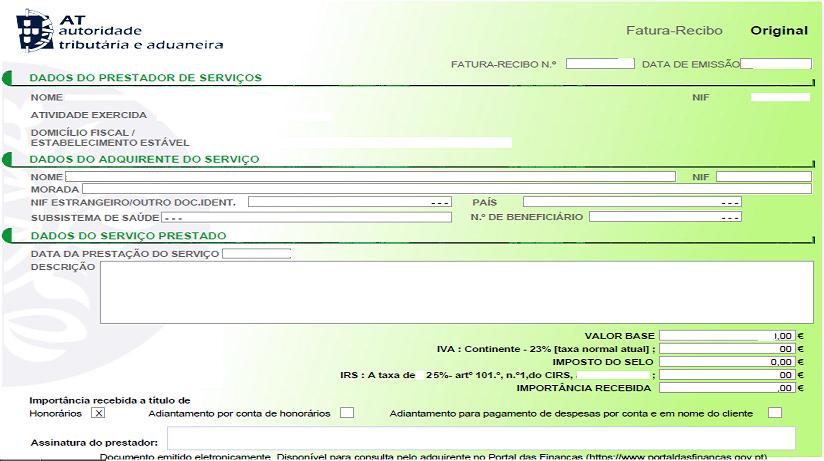recu vert électronique pour freelance au Portugal