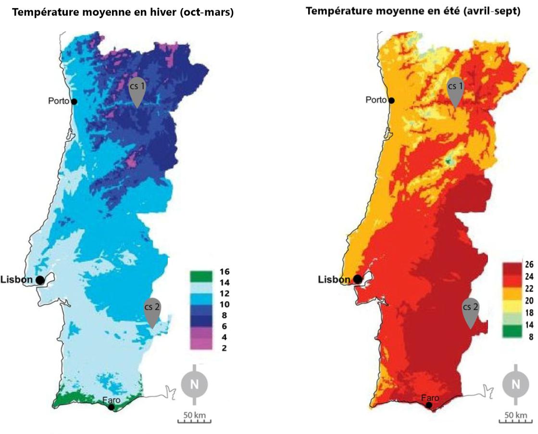 Température moyenne au Portugal
