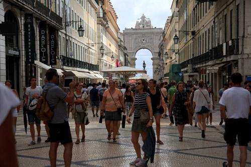 touristes à Lisbonne